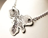 Archaeopteryx Fossil Sparkle Surly Ceramic Necklace With Rhinestone Chain