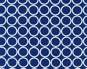 CLEARANCE 4.25 Yards Robert Kaufman Metro Living Navy Blue Circles Fabric