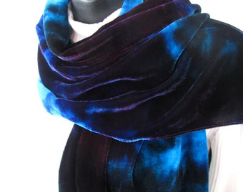 Hand Dyed Velvet Scarf for Women Winter Sky -  winter fashion accessory gift for women gift for her girlfriend wife purple scarf teal