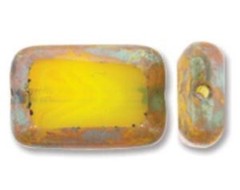 Czech Glass Table Cut Rectangle Milky Yellow Picasso, 12x8mm (12 Bead Strand)