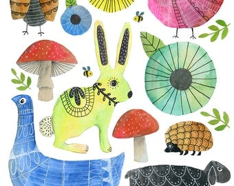 Springtime Friends Art Print - Lisa Congdon