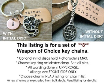 ANY 8 Weapon of Choice Keychains, copper dog tag, choose your charm, optional initial disc, PLEASE READ listing for guidelines