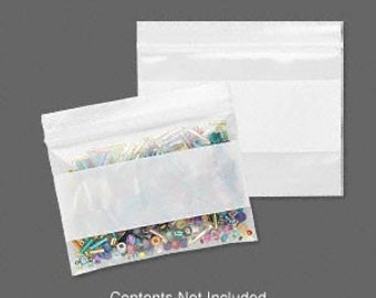 100 Recloseable Zip Lock Clear with White Block Plastic Poly Bags, 3x2 inch 2mm