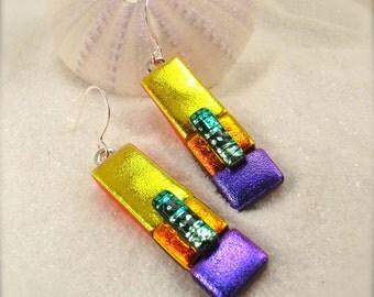 Dichroic glass earrings, fused glass jewelry, Hana Sakura, Rainbow earrings, glass fusion, statement earrings, fused dichroic, creative