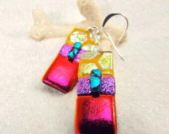 Color block earrings, Dichroic glass earrings, statement earrings, trending jewelry, fused glass jewelry, dichroic beads, rainbow earrings