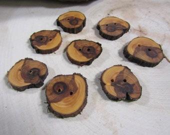 8 beautiful Juniper Wooden buttons- handmade buttons 1.25 inch (2048)