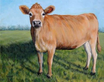Jersey Cow Art Print, Jersey, Standing Full Side Dairy Cow in Field, Painting by Dottie Dracos,Various Sizes