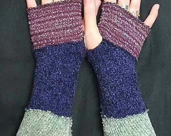 patchwork recycled sweater arm warmers - purple, green, brown
