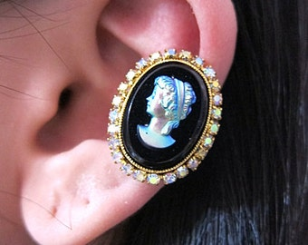Choose Either Brown Or Black Lady Cameo With Crystals Ear Cuff Ear Wrap Elegant Victorian Ancient Earcuff Cuff Earring