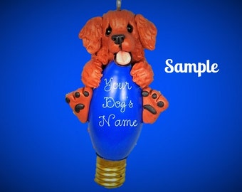 Dark Golden Retriever Christmas Holidays Light Bulb Ornament Sally's Bits of Clay OOAK PERSONALIZED FREE with dog's name