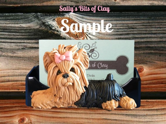 Yorkie Yorkshire Terrier Bow in topknot long haired dog Business Card / Cell Phone Holder OOAK sculpture by Sally's Bits of Clay