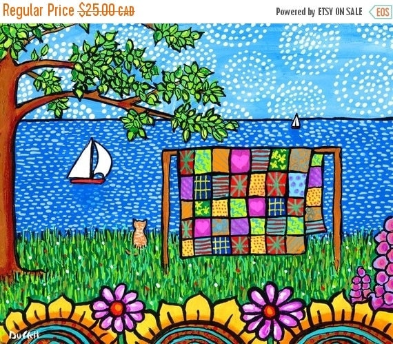 ON SALE Patchwork Quilt Folkart Print with Cat