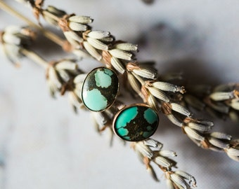 Oval Turquoise Earrings - Silver or Gold Studs - Semi Precious Stones, December Birthstone, Protective Charm - Simple Bohemian Earrings