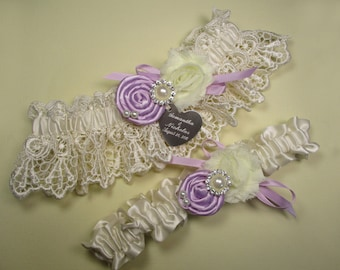 Personalized Wedding Garter Set in Ivory and Lavender with Handmade Lavender Roses, Pearls, Rhinestones and Engraving