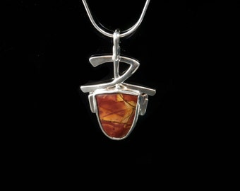 Asian inspired sterling silver pendant with Red Creek Jasper necklace