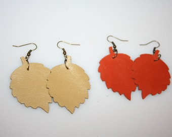 Leather Leaf earrings Yellow or Orange