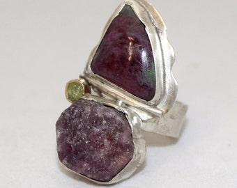Multi stone natural statement ring, raw ruby ruby in fuchsite peridot sterling silver and gold ring size 7