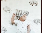 RockerByeBeanies Newborn Baby knit skull cap beanie white and gray checkerboard stamp hat for your little boy or girl