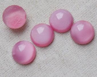 20 Vintage Rose Pink Glass Cabochons 11mm
