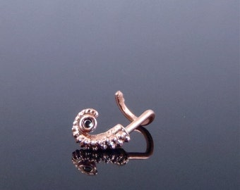 VDay SALE SALE - 14K Rose Gold Octopus Tentacle Nose Ring, Black Diamond Ring, body jewelry, Tentacle Nose stud - 18 gauge