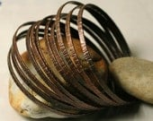 Stacking Bangle Bracelets, Antique Copper Bangles, Hammered Bangles, Textured Bangles, one piece (item ID ACBW68)