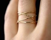 Large Gold Wrap ring, 14k gold fill wraparound ring, wrapped gold ring, gold cocktail ring, gold wrap around ring, delicate gold ring