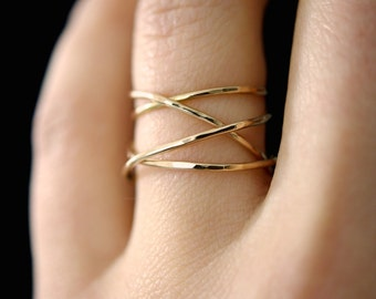Large Gold Wrap ring, 14k gold fill wraparound ring, wrapped gold ring, gold cocktail ring, gold wrap around ring, delicate gold ring