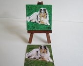 Pet Portrait Mini Original Oil Painting Hand Painted 2.5 in x 2.5 in with Free Easel Made to Order by Pigatopia