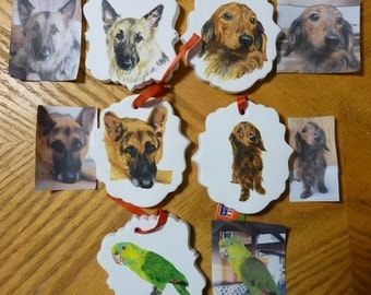 Shepherd Pet Portrait Memorial Christmas Ornament Hand Painted and Made to Order by Pigatopia