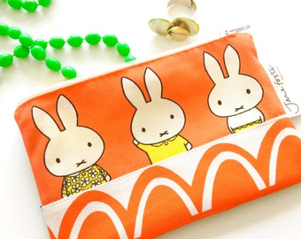 Handmade Miffy Fabric Purse / Make up bag  by Jane Foster  - Dick Bruna retro geometric patterned pop art