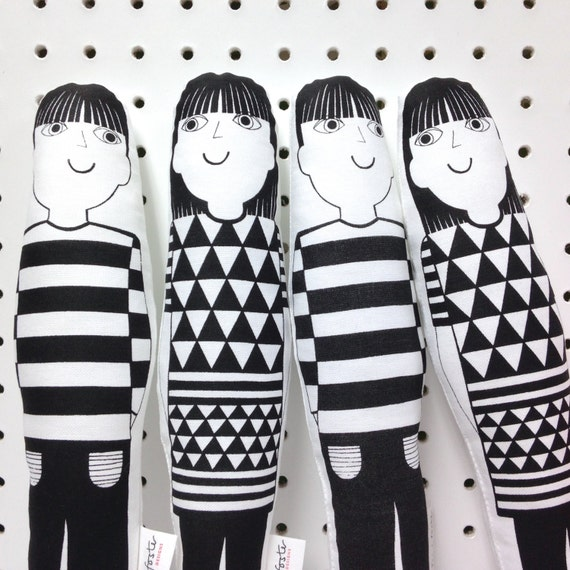 Scandinavian Jen and Joe screen printed Jane Foster plush toys  - retro modern geometric fabric