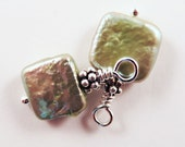 Moss Green Square Coin Pearl Drops for Earrings - with or without Interchangeable Ear Wires, June Birthstone