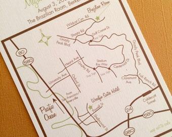Berkeley California custom wedding map, digital file