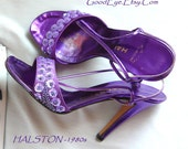 Vintage Glitzy HALSTON High Heels Sandals Shoes Leather / Size 7 Eur 37 .5 UK 4.5  /  Metallic Purple Designer made in ITALY 1990s