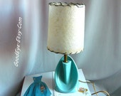 Vintage 50s Ceramic Bedroom Lamp w Shade Small Turquoise Blue CURVY One or PAIR Same Price Table Top Nightstand Mcm Atomic