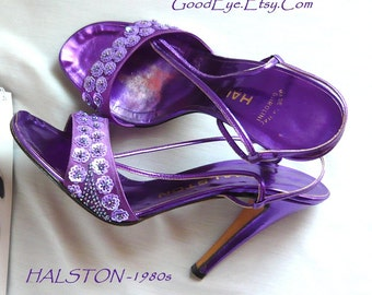 Glitzy HALSTON High Heels Sandals Shoes Leather Size 7 Eur 37 .5 UK 4.5 ITALY Metallic Purple Designer Vintage 80s