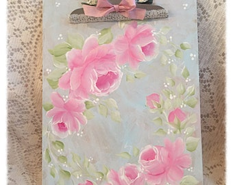 Pale Blue CLIPBOARD Shabby Standard Clip Board Hand Painted Pink Roses svfteam sct ecs schteam