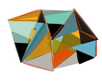 Geometric Asbtract Digital Drawing on Paper