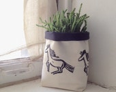 storage, fabric pot, fabric storage, linocut, fabric bin, fabric bucket, blockprinted, handcarved, horses, fabric bin, fabric pouch,