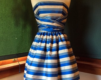Blue and Tan Strapless Dress