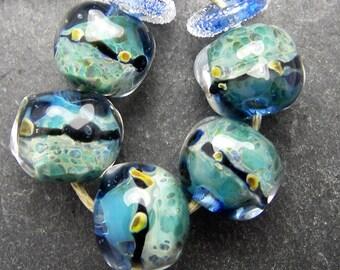 CrazyCatGlass Lampwork Boro Glass Beads Handmade Poseidon Stones