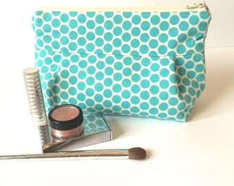 Makeup Bag No. 1 in Aqua Dots with Wipeable Lining