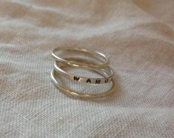 Sterling  silver Stacking ring with name