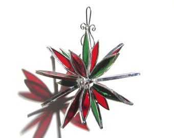 Holiday Blast - 3D Stained Glass Flower Burst - Small Red Christmas Home Garden Decor Suncatcher Hanging Ornament (READY TO SHIP)
