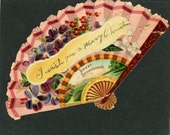Vintage Fan Victorian Scrap I wish you a Merry Christmas