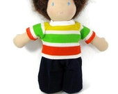 Bright striped tee shirt and blue corduroy pants for 10 inch Waldorf style doll