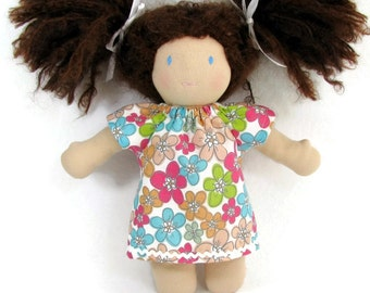 10 to 12 inch Waldorf doll dress in mod pastel floral, handmade doll clothing for Waldorf dolls, baby doll dress