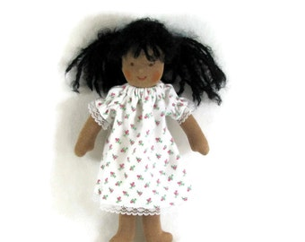 9, 10, 11 inch thin Waldorf doll nightgown, rosebud nightgown