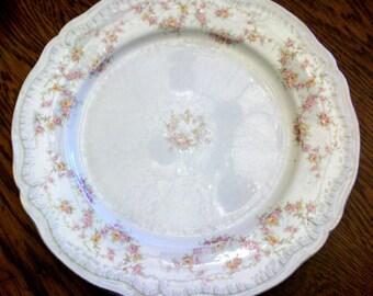"Set of 4 Theodore Haviland New York 10"" Plates ""Naomi"" Pattern Shabby Pink Roses"