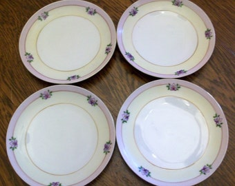Set of 4 Hand Painted China Plates Meito China Luncheon Dishes Lavender Yellow Violets
